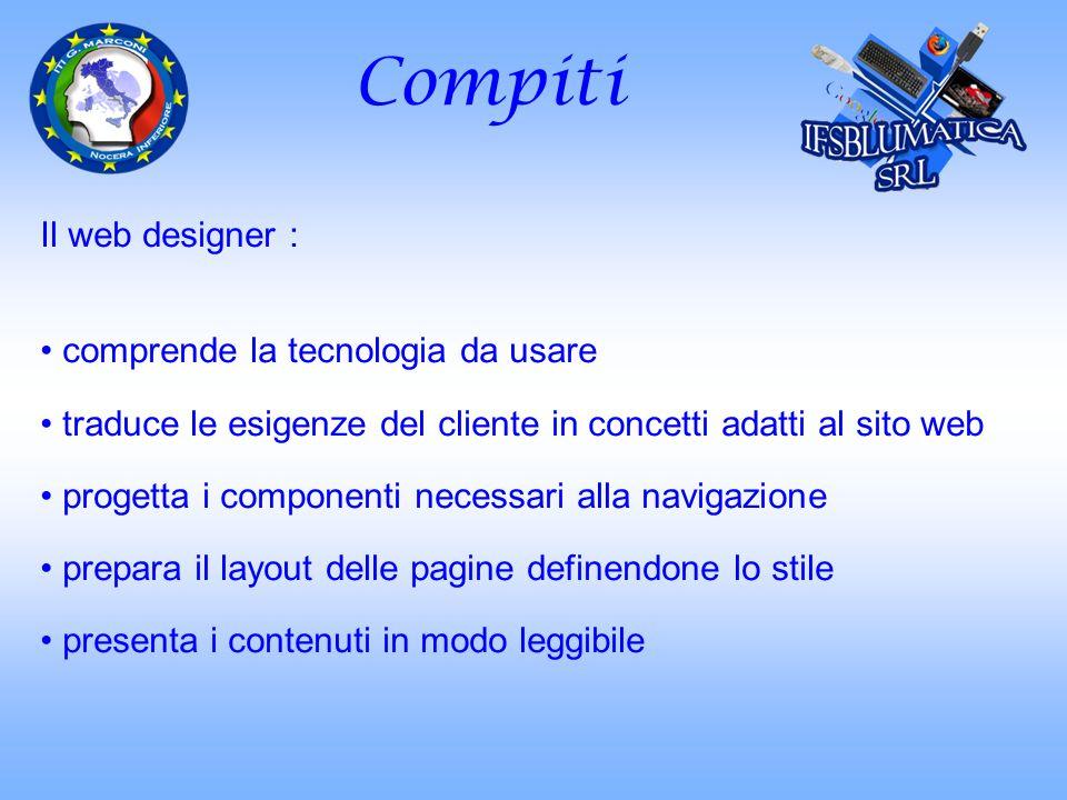 Compiti Il web designer : comprende la tecnologia da usare traduce le esigenze del cliente in concetti adatti al sito web progetta i componenti necess