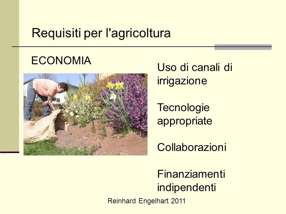 Reinhard Engelhart 2011 Requisiti per l'agricoltura ECONOMIA Uso di canali di irrigazione Tecnologie appropriate Collaborazioni Finanziamenti indipend