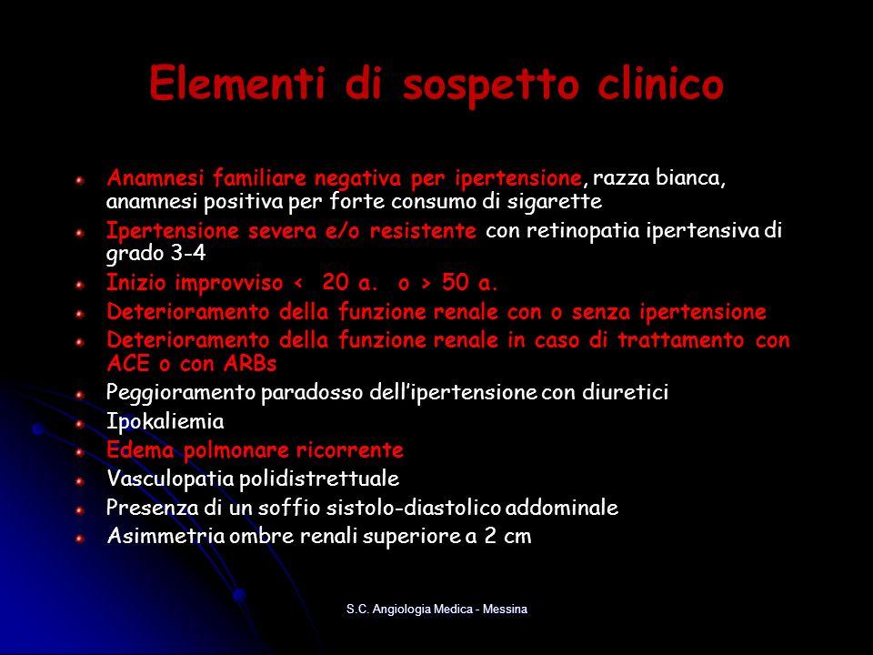 Elementi di sospetto clinico Anamnesi familiare negativa per ipertensione, razza bianca, anamnesi positiva per forte consumo di sigarette Ipertensione