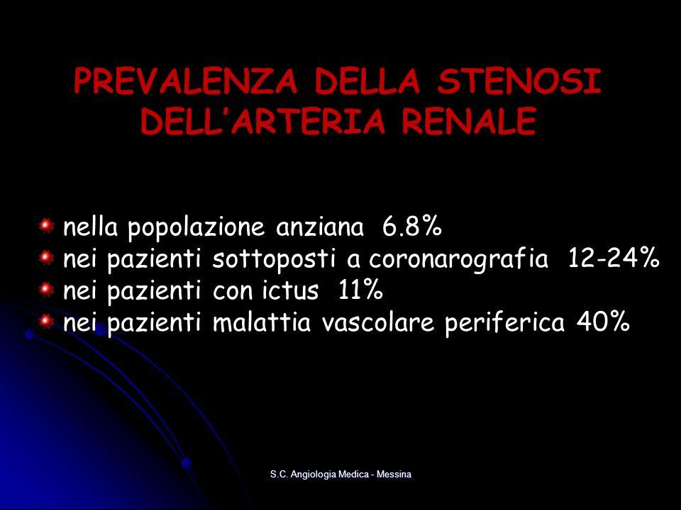 S.C. Angiologia Medica - Messina PREVALENZA DELLA STENOSI DELLARTERIA RENALE nella popolazione anziana 6.8% nei pazienti sottoposti a coronarografia 1