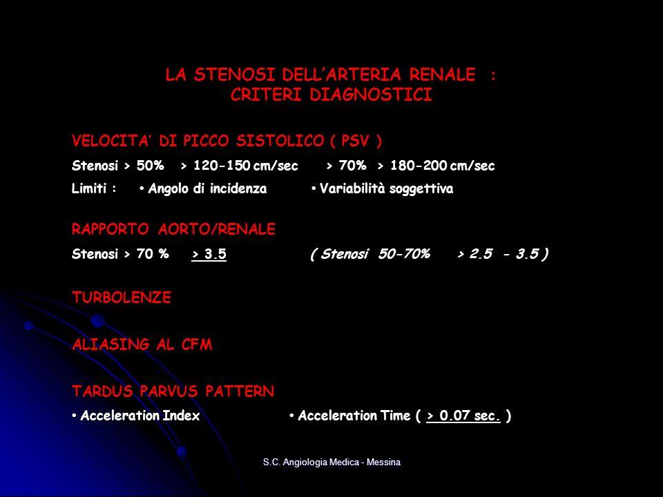 VELOCITA DI PICCO SISTOLICO ( PSV ) Stenosi > 50% > 120-150 cm/sec > 70% > 180-200 cm/sec Limiti : Angolo di incidenza Variabilità soggettiva RAPPORTO AORTO/RENALE Stenosi > 70 % > 3.5 ( Stenosi 50-70% > 2.5 - 3.5 ) TURBOLENZE ALIASING AL CFM TARDUS PARVUS PATTERN Acceleration Index Acceleration Time ( > 0.07 sec.