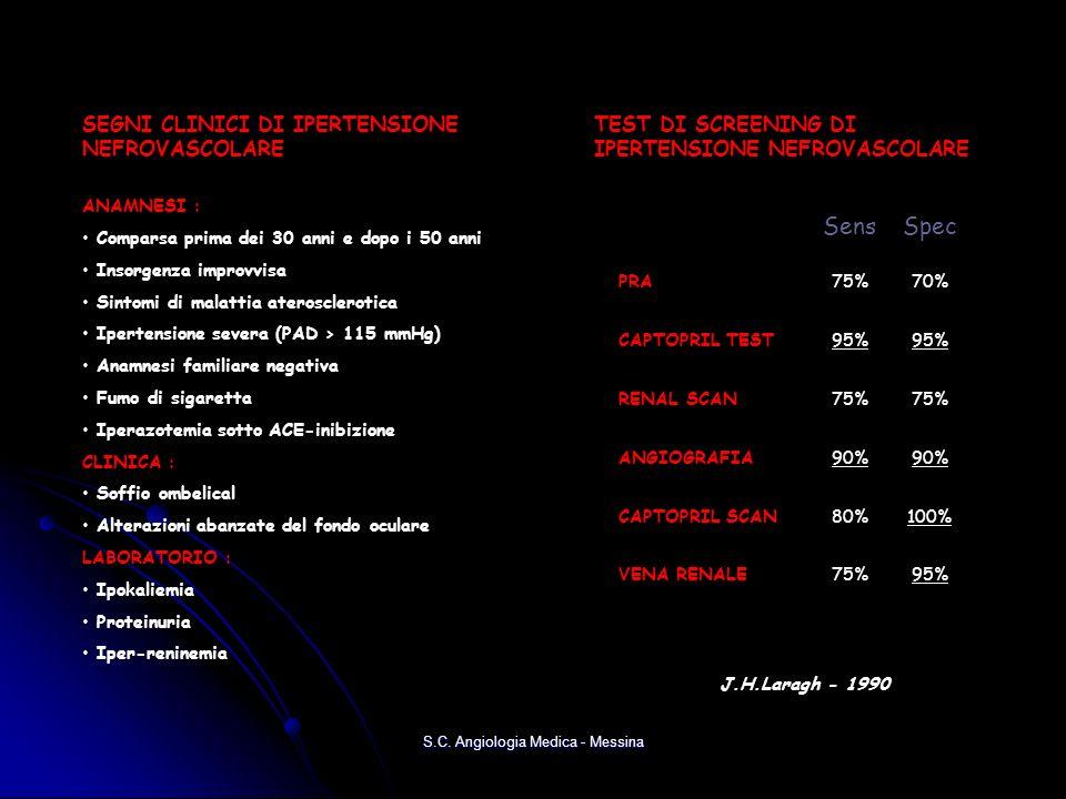 S.C. Angiologia Medica - Messina J.H.Laragh - 1990 TEST DI SCREENING DI IPERTENSIONE NEFROVASCOLARE SensSpec PRA75%70% CAPTOPRIL TEST 95%95% RENAL SCA