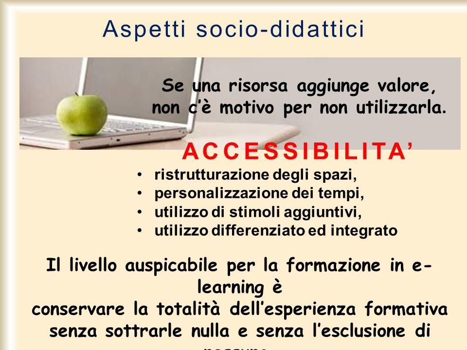 Aspetti socio-didattici Se una risorsa aggiunge valore, non cè motivo per non utilizzarla. ACCESSIBILITA ristrutturazione degli spazi, personalizzazio