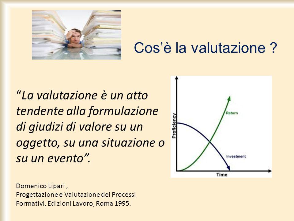 La valutazione è un atto tendente alla formulazione di giudizi di valore su un oggetto, su una situazione o su un evento. Domenico Lipari, Progettazio