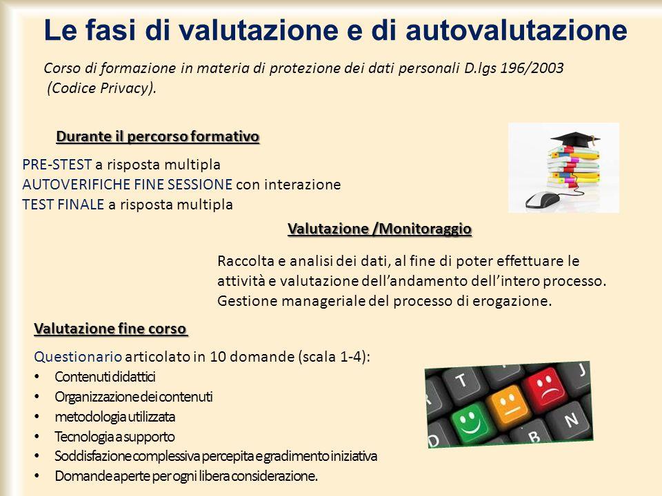Corso di formazione in materia di protezione dei dati personali D.lgs 196/2003 (Codice Privacy). Le fasi di valutazione e di autovalutazione Valutazio