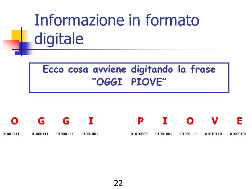 21 Informazione in formato digitale Ad esempio: 00000000 A 00000001 B 00000010 C 00000011 D 00000100 E …. e così via Infatti con 8 bit è possibile rap