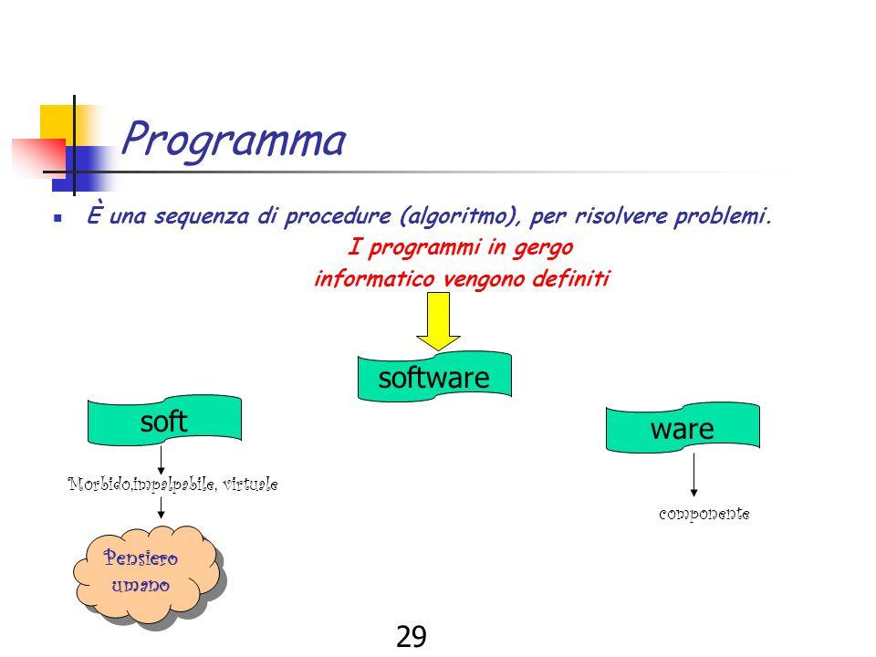 28 Linformatica Linformatica è una scienza che si propone Raccogliere Organizzare Conservare distribuire informazioni di elaborare algoritmi Per risolvere problemi