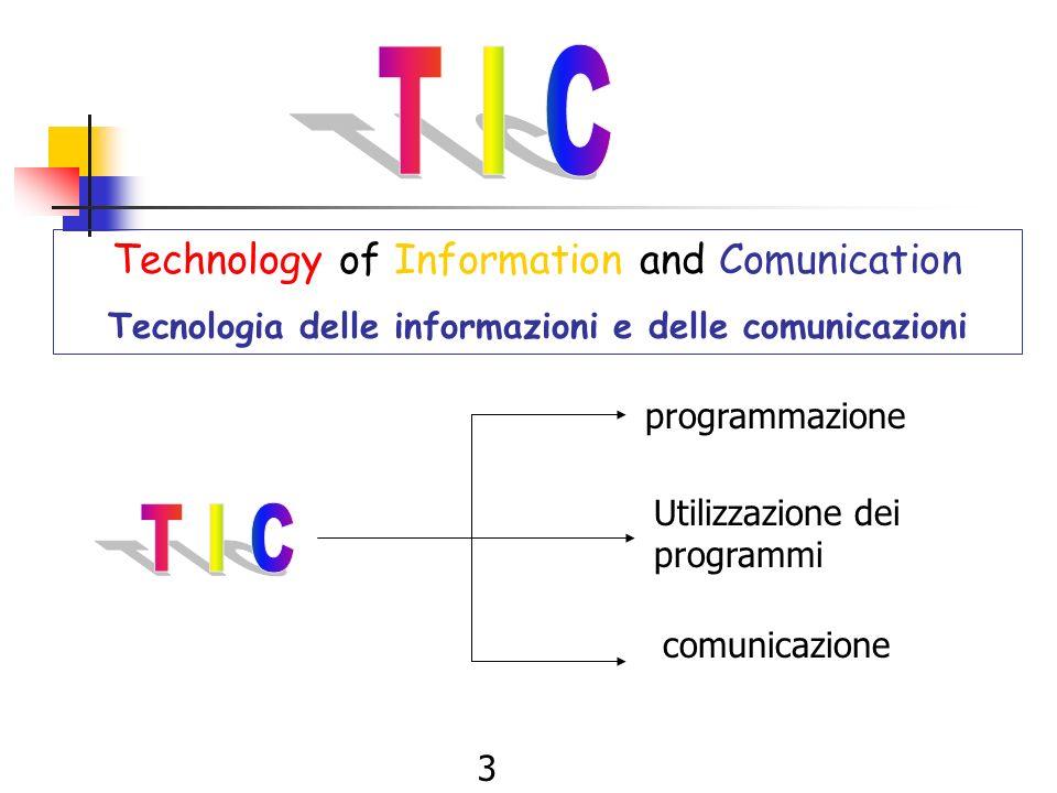 3 Technology of Information and Comunication Tecnologia delle informazioni e delle comunicazioni programmazione Utilizzazione dei programmi comunicazione