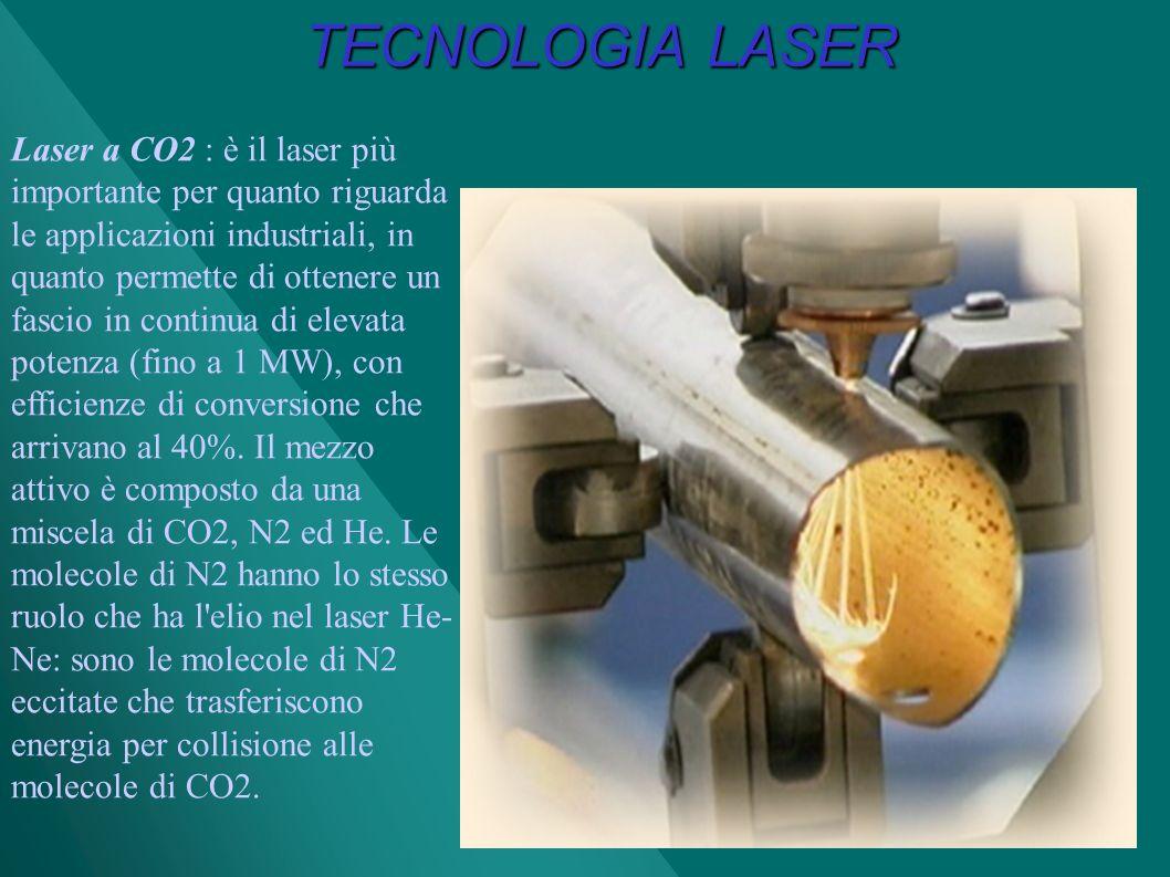 TECNOLOGIA LASER Laser a CO2 : è il laser più importante per quanto riguarda le applicazioni industriali, in quanto permette di ottenere un fascio in