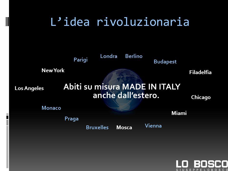 Lidea rivoluzionaria Abiti su misura MADE IN ITALY anche dallestero. New York LondraBerlino Parigi Budapest Bruxelles Praga Vienna Monaco Mosca Los An