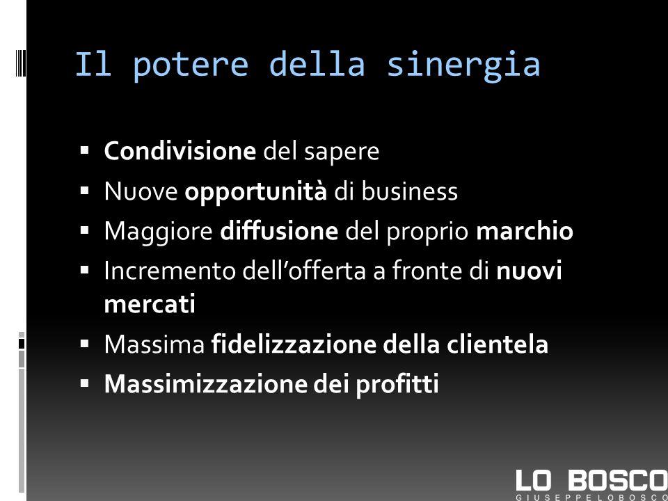Il potere della sinergia Condivisione del sapere Nuove opportunità di business Maggiore diffusione del proprio marchio Incremento dellofferta a fronte di nuovi mercati Massima fidelizzazione della clientela Massimizzazione dei profitti
