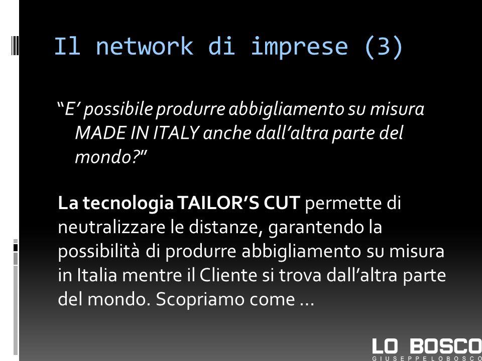 Il network di imprese (3) E possibile produrre abbigliamento su misura MADE IN ITALY anche dallaltra parte del mondo? La tecnologia TAILORS CUT permet