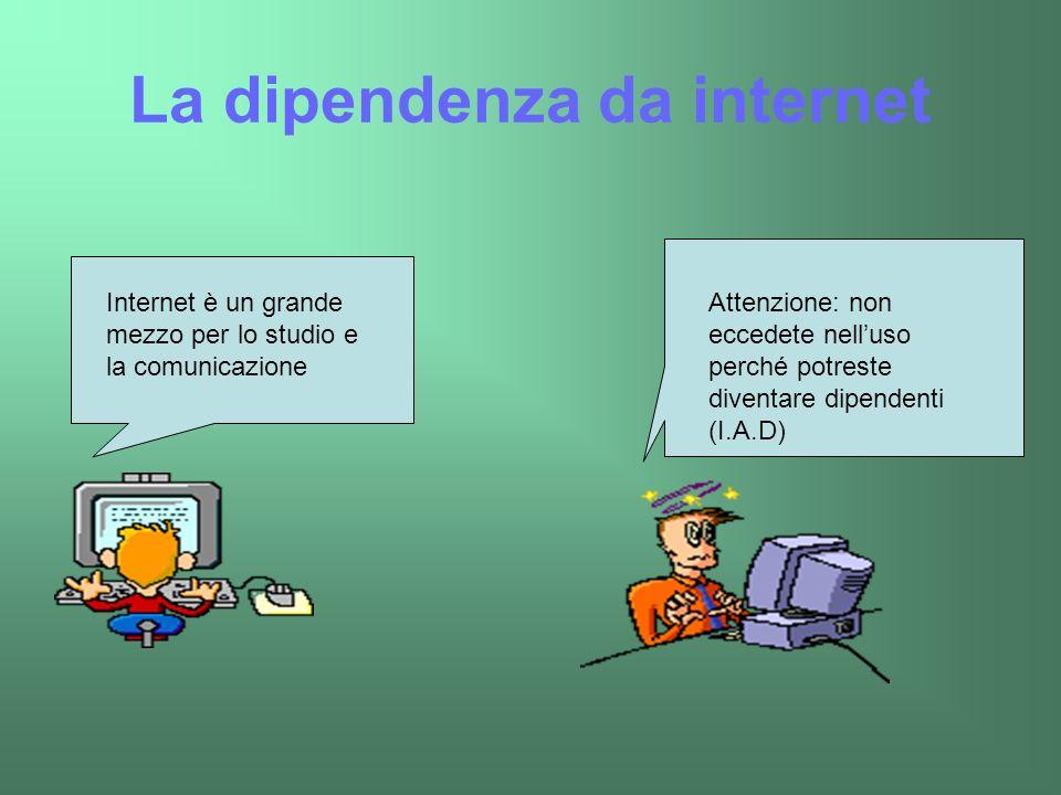 La dipendenza da internet Internet è un grande mezzo per lo studio e la comunicazione Attenzione: non eccedete nelluso perché potreste diventare dipen