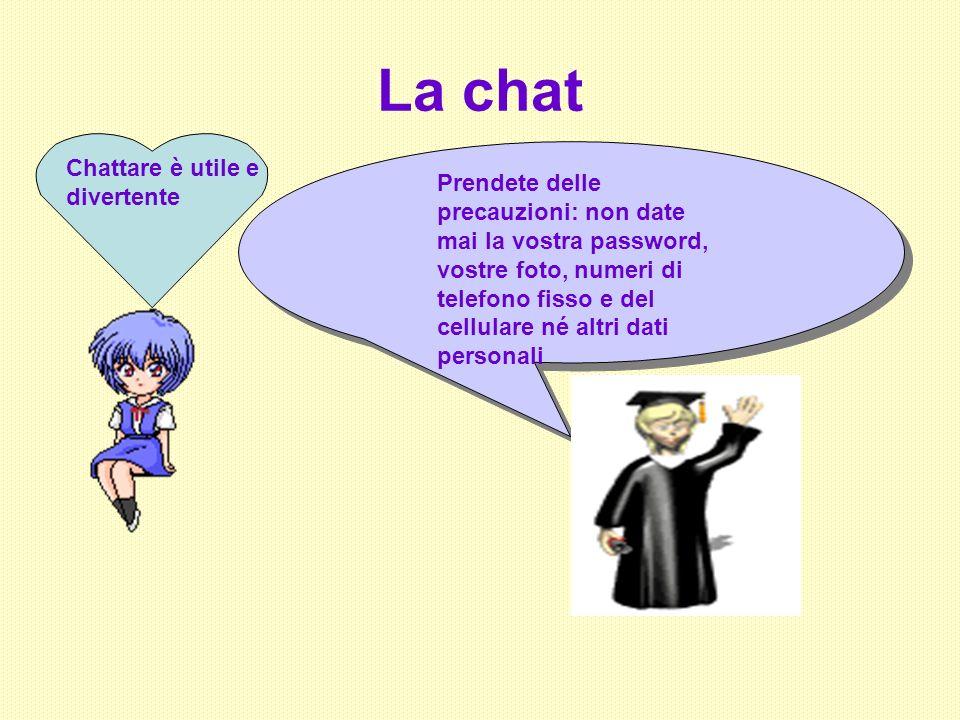 La chat Chattare è utile e divertente Prendete delle precauzioni: non date mai la vostra password, vostre foto, numeri di telefono fisso e del cellula