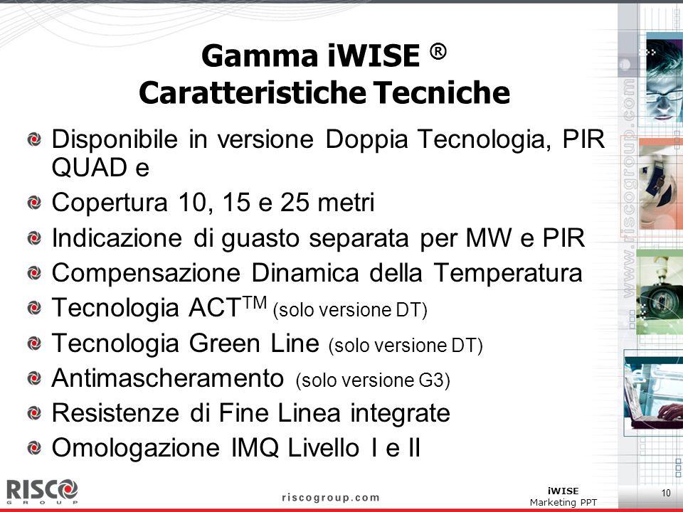 10 iWISE Marketing PPT Gamma iWISE ® Caratteristiche Tecniche Disponibile in versione Doppia Tecnologia, PIR QUAD e Copertura 10, 15 e 25 metri Indica