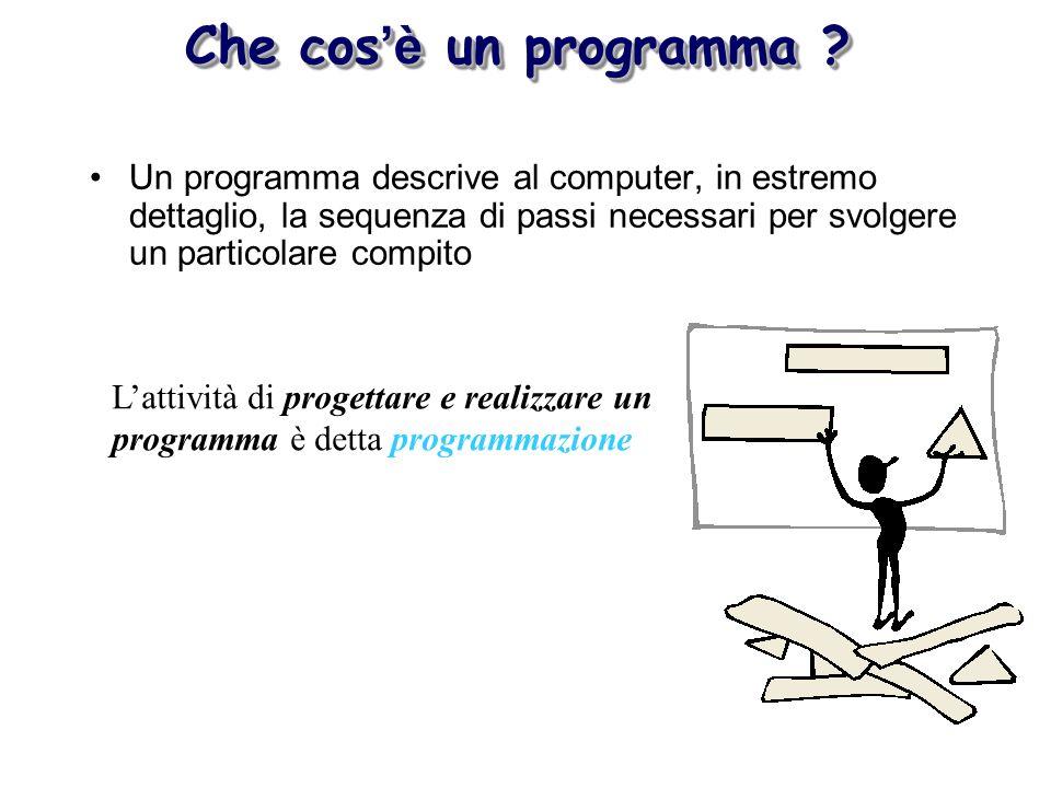 Un programma descrive al computer, in estremo dettaglio, la sequenza di passi necessari per svolgere un particolare compito Lattività di progettare e