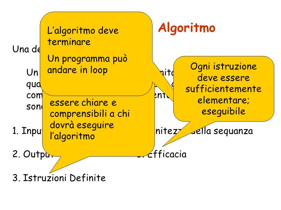 Definizione di Algoritmo 1. Input 2. Output 4. Finitezza della sequanza Una definizione più precisa: 3. Istruzioni Definite Un algoritmo è una sequenz
