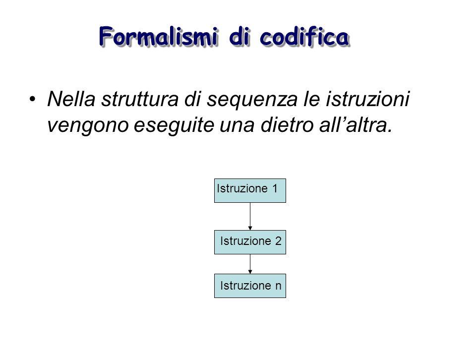 Formalismi di codifica Nella struttura di sequenza le istruzioni vengono eseguite una dietro allaltra. Istruzione 1 Istruzione 2 Istruzione n
