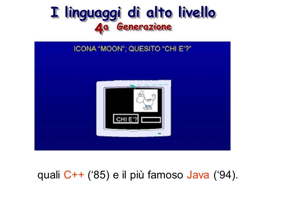 I linguaggi di alto livello 4 a Generazione quali C++ (85) e il più famoso Java (94).