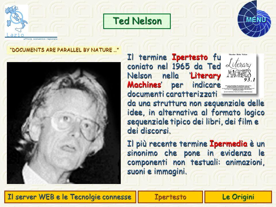 MENU Il termine Ipertesto fu coniato nel 1965 da Ted Nelson nella Literary Machines per indicare documenti caratterizzati Ted Nelson da una struttura
