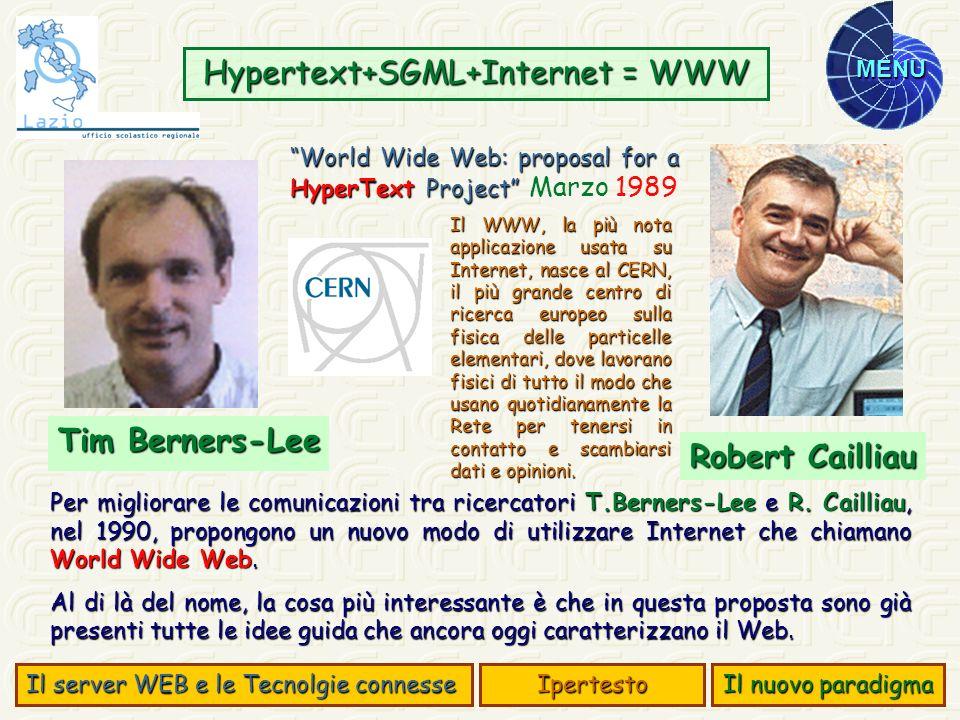 MENU Per migliorare le comunicazioni tra ricercatori T.Berners-Lee e R. Cailliau, nel 1990, propongono un nuovo modo di utilizzare Internet che chiama