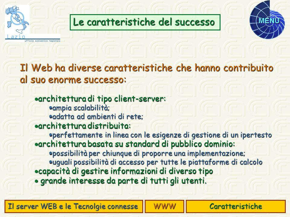 MENU Il Web ha diverse caratteristiche che hanno contribuito al suo enorme successo: architettura di tipo client-server: architettura di tipo client-s