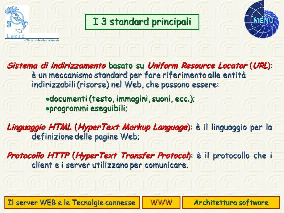 MENU Sistema di indirizzamento basato su Uniform Resource Locator (URL): è un meccanismo standard per fare riferimento alle entità indirizzabili (riso