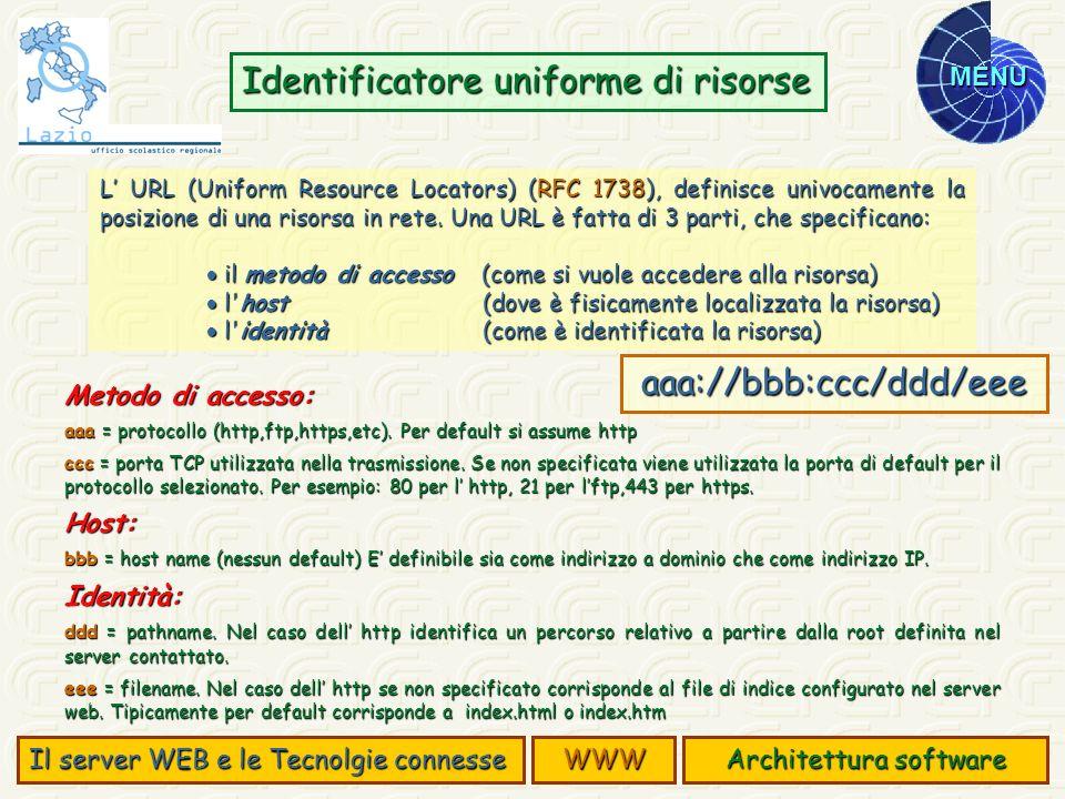 MENU L URL (Uniform Resource Locators) (RFC 1738), definisce univocamente la posizione di una risorsa in rete. Una URL è fatta di 3 parti, che specifi