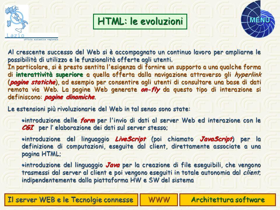MENU Al crescente successo del Web si è accompagnato un continuo lavoro per ampliarne le possibilità di utilizzo e le funzionalità offerte agli utenti
