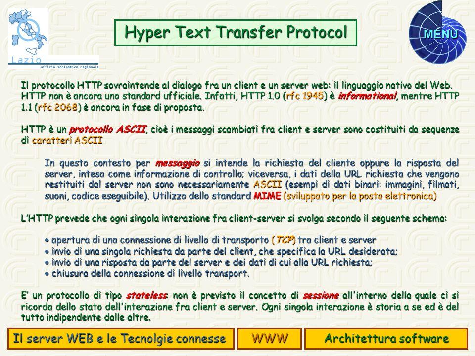MENU Il protocollo HTTP sovraintende al dialogo fra un client e un server web: il linguaggio nativo del Web. HTTP non è ancora uno standard ufficiale.