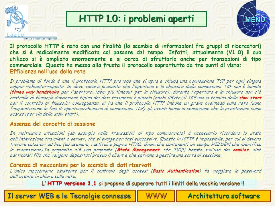 MENU Il protocollo HTTP è nato con una finalità (lo scambio di informazioni fra gruppi di ricercatori) che si è radicalmente modificata col passare de