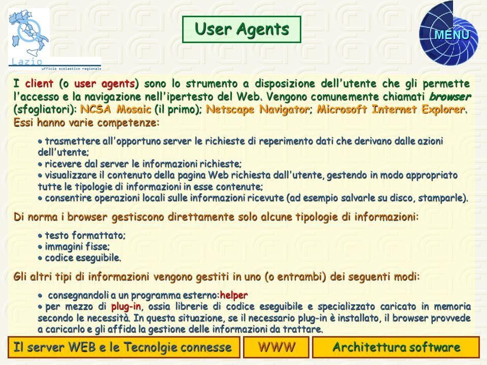 MENU I client (o user agents) sono lo strumento a disposizione dell'utente che gli permette l'accesso e la navigazione nell'ipertesto del Web. Vengono