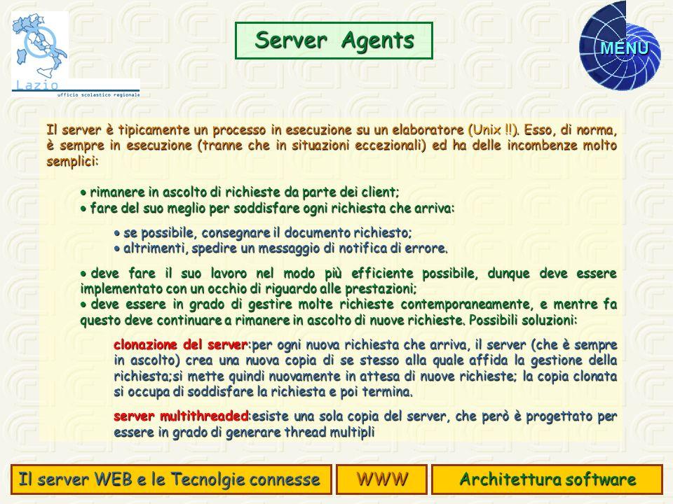 MENU Il server è tipicamente un processo in esecuzione su un elaboratore (Unix !!). Esso, di norma, è sempre in esecuzione (tranne che in situazioni e