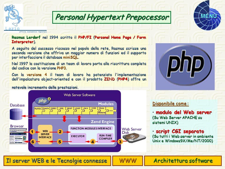 MENU Personal Hypertext Prepocessor Rasmus Lerdorf nel 1994 scritto il PHP/FI (Personal Home Page / Form Interpreter). A seguito del successo riscosso