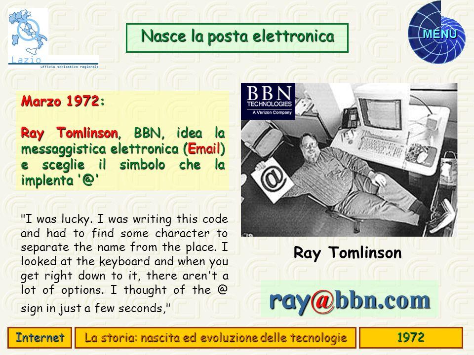 MENU Nasce la posta elettronica Internet La storia: nascita ed evoluzione delle tecnologie 1972 Ray Tomlinson Marzo 1972: Ray Tomlinson, BBN, idea la