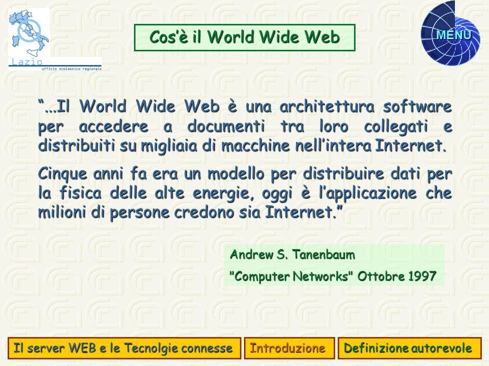 MENU...Il World Wide Web è una architettura software per accedere a documenti tra loro collegati e distribuiti su migliaia di macchine nellintera Inte