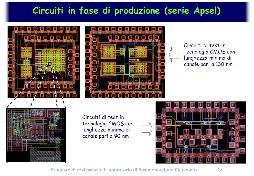 12 Proposte di tesi presso il Laboratorio di Strumentazione Elettronica Circuiti in fase di produzione (serie Apsel) Circuiti di test in tecnologia CM