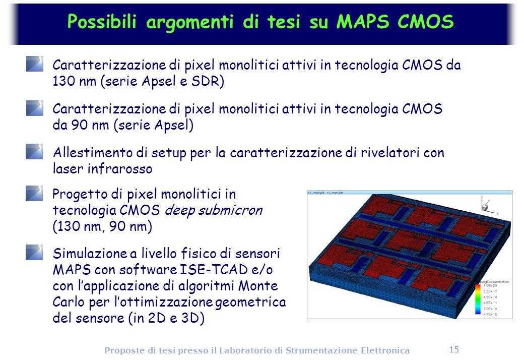 15 Proposte di tesi presso il Laboratorio di Strumentazione Elettronica Possibili argomenti di tesi su MAPS CMOS Caratterizzazione di pixel monolitici
