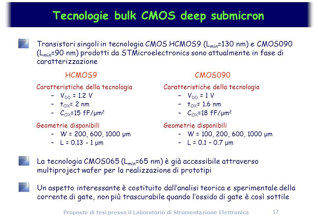 17 Proposte di tesi presso il Laboratorio di Strumentazione Elettronica Tecnologie bulk CMOS deep submicron Transistori singoli in tecnologia CMOS HCM