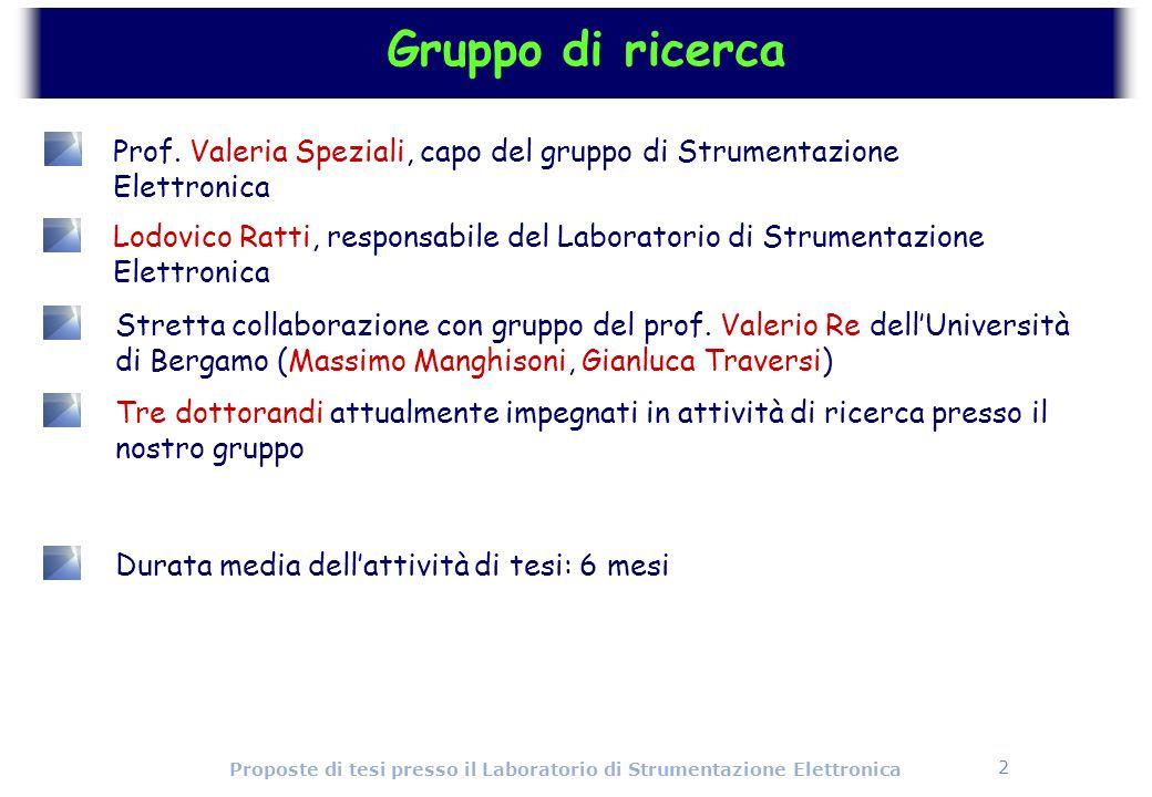2 Proposte di tesi presso il Laboratorio di Strumentazione Elettronica Gruppo di ricerca Prof. Valeria Speziali, capo del gruppo di Strumentazione Ele