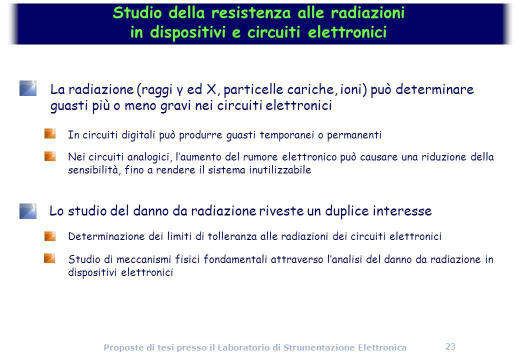 23 Proposte di tesi presso il Laboratorio di Strumentazione Elettronica Lo studio del danno da radiazione riveste un duplice interesse Determinazione
