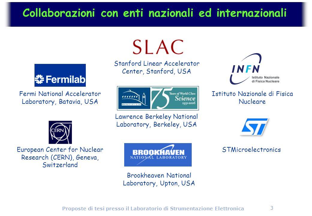 3 Proposte di tesi presso il Laboratorio di Strumentazione Elettronica Collaborazioni con enti nazionali ed internazionali Fermi National Accelerator