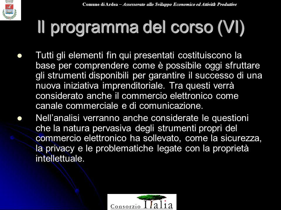 Comune di Ardea – Assessorato allo Sviluppo Economico ed Attivit à Produttive Il programma del corso (VI) Tutti gli elementi fin qui presentati costit
