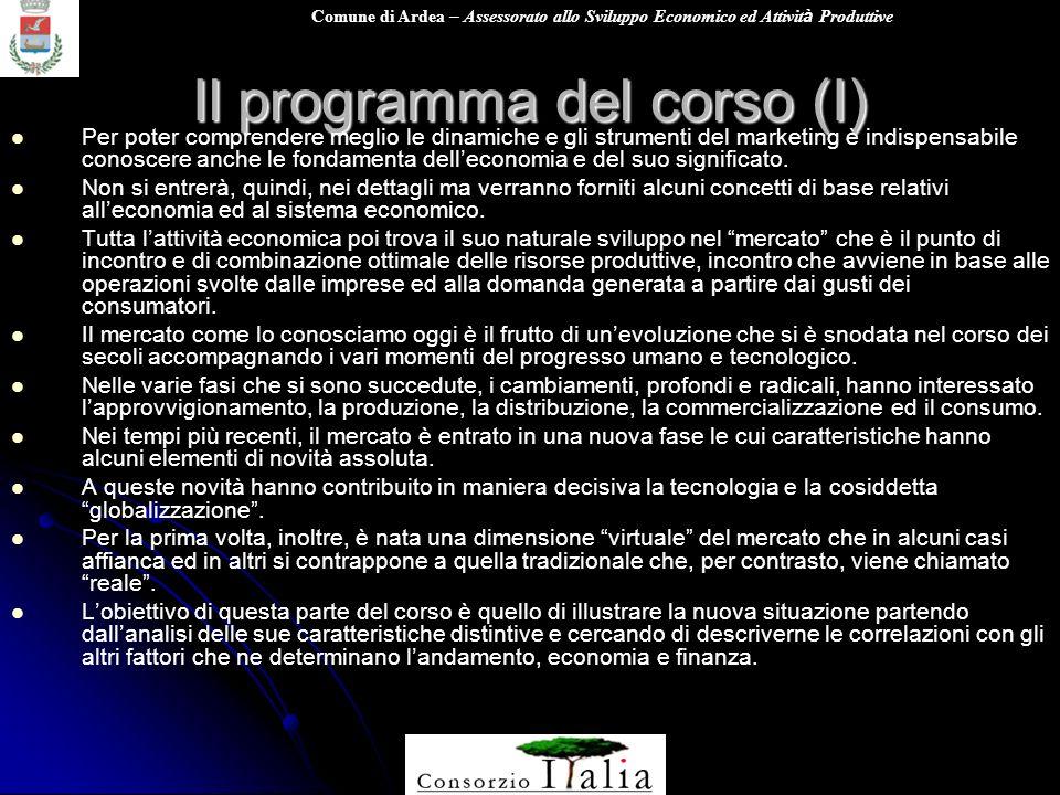 Comune di Ardea – Assessorato allo Sviluppo Economico ed Attivit à Produttive Il programma del corso (I) Per poter comprendere meglio le dinamiche e g