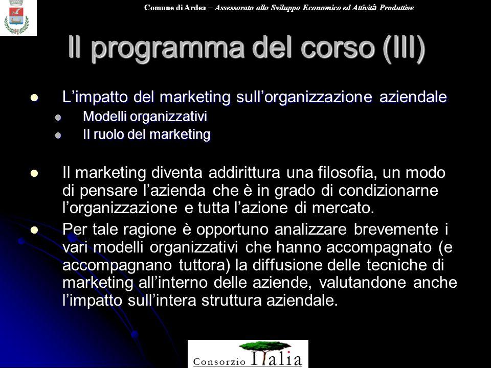 Comune di Ardea – Assessorato allo Sviluppo Economico ed Attivit à Produttive Il programma del corso (III) Limpatto del marketing sullorganizzazione a