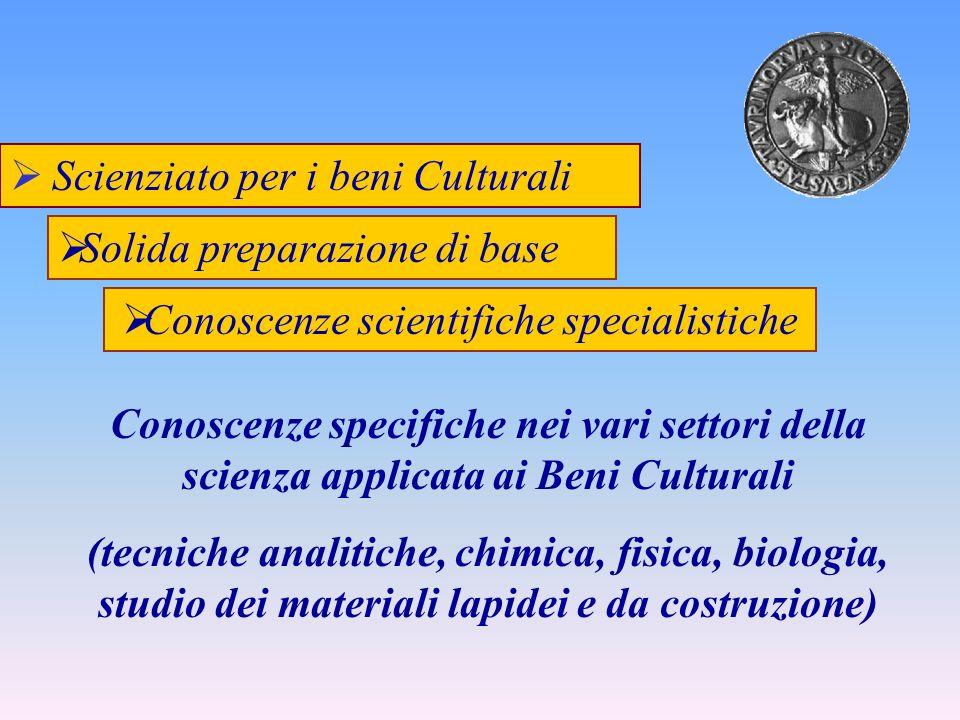 Scienziato per i beni Culturali Conoscenze specifiche nei vari settori della scienza applicata ai Beni Culturali (tecniche analitiche, chimica, fisica