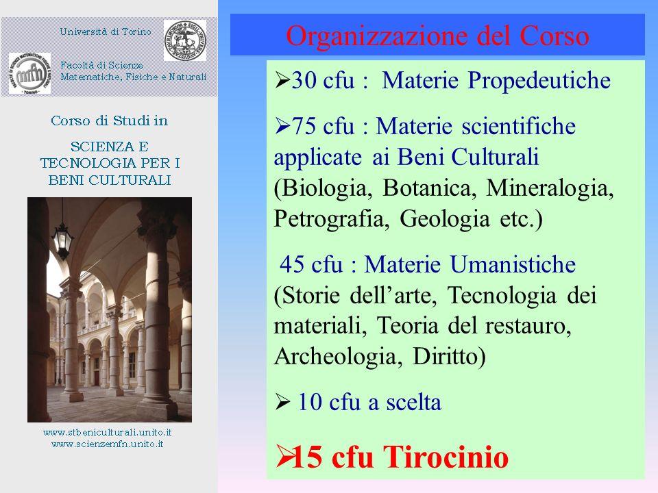 30 cfu : Materie Propedeutiche 75 cfu : Materie scientifiche applicate ai Beni Culturali (Biologia, Botanica, Mineralogia, Petrografia, Geologia etc.)