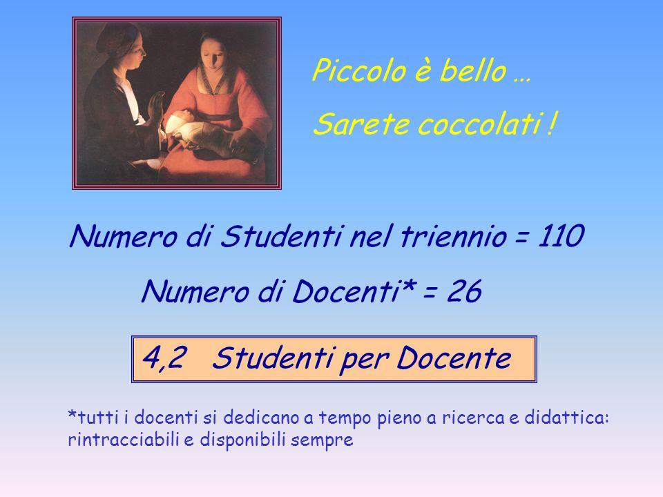 Numero di Studenti nel triennio = 110 Numero di Docenti* = 26 4,2 Studenti per Docente *tutti i docenti si dedicano a tempo pieno a ricerca e didattic