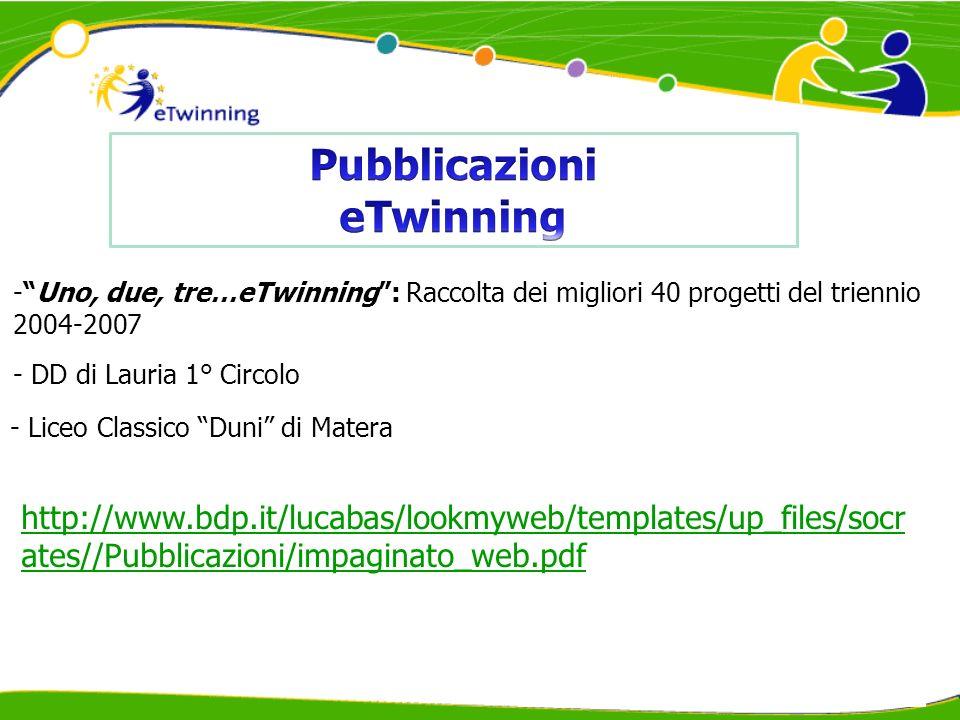 -Learning with eTwinning – A Handbook for Teachers : buone pratiche europee - Liceo Classico Duni di Matera http://ec.europa.eu/dgs/education_culture/publ/pdf/e- twinning/broch_en.pdf