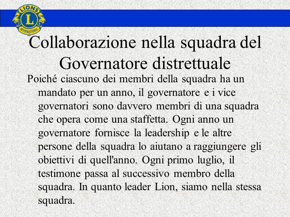 Collaborazione nella squadra del Governatore distrettuale Poiché ciascuno dei membri della squadra ha un mandato per un anno, il governatore e i vice governatori sono davvero membri di una squadra che opera come una staffetta.